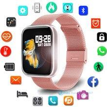 P80 akıllı saat kadın Smartwatch erkekler spor spor bilezik Android IOS için elektronik Bluetooth saat su geçirmez akıllı izle