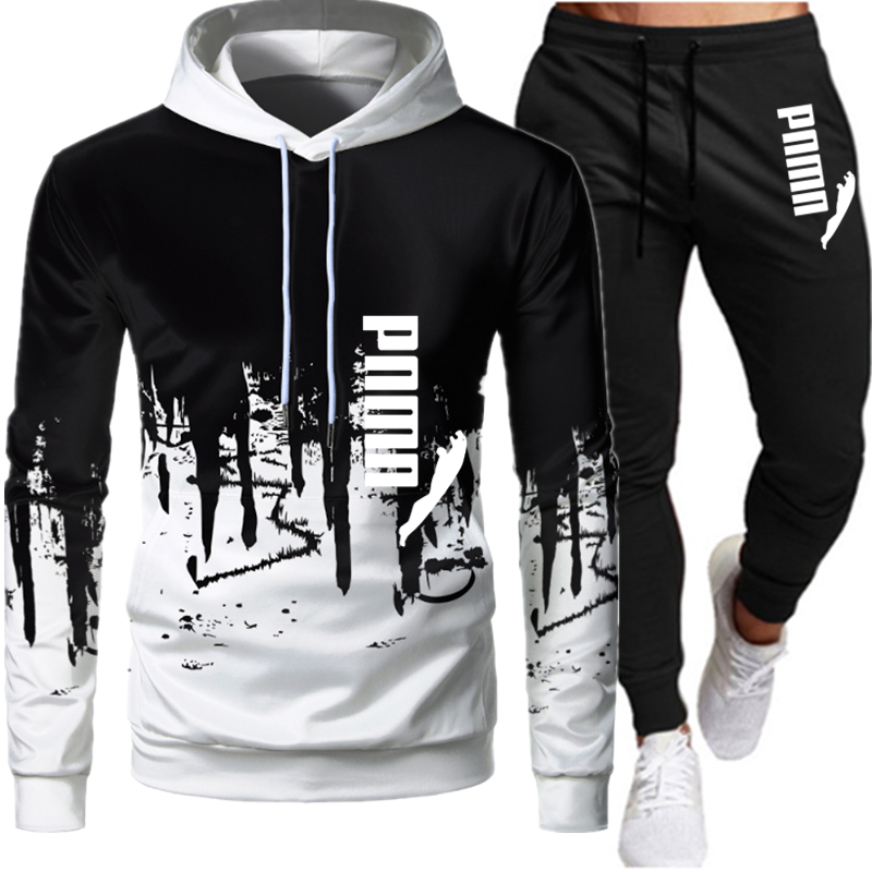 Casual Tracksuit Men 2 Pieces Sets Hooded Sweatshirts Spring Men's Clothes Pullover Hoodies Pants Suit Ropa Hombre Plus Size