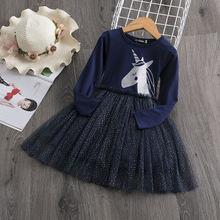 Детское трикотажное платье с единорогом длинным рукавом