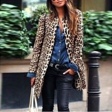 Autumn Winter Women Leopard Jacket Female Sexy Warm Coat New Wind Cardigan Print Long Outwear