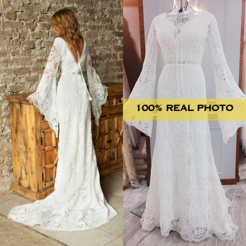 REAL PHOTO BOHO VINTAGE Bohemian Bridal Wedding Dress Bride Gown Real Factory Cheap Price
