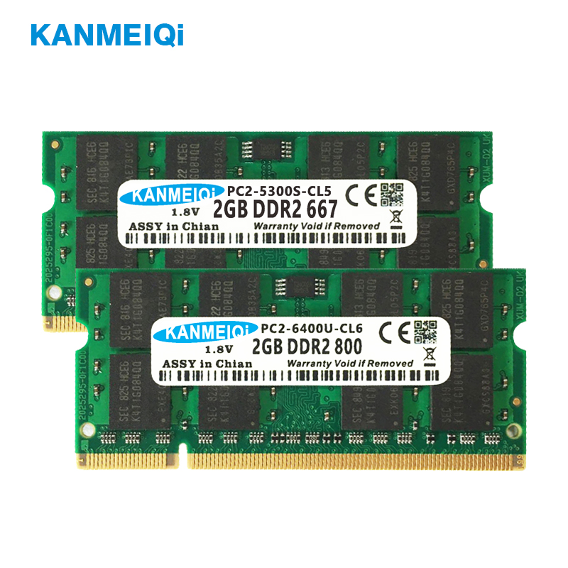 KANMEIQi <font><b>ram</b></font> <font><b>ddr2</b></font> laptop 2gb 800mhz SODIMM <font><b>4gb</b></font>*2pcs 533/667MHz <font><b>notebook</b></font> 1.8v 200pin memory New PC2 CL6 image