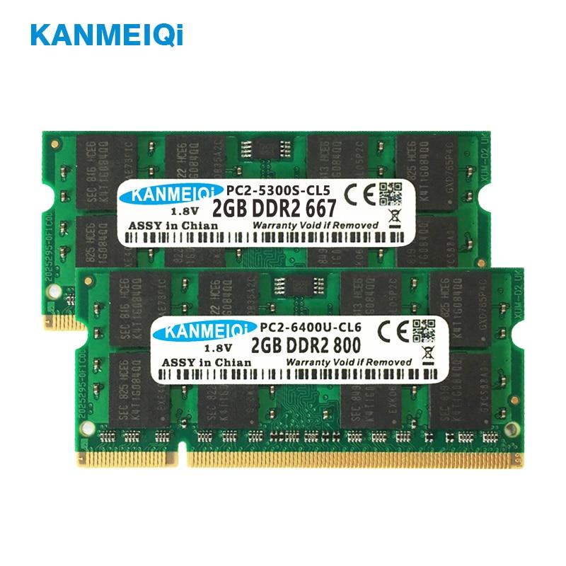 KANMEIQi Ram Ddr2 Laptop 2gb 800mhz SODIMM 4gb*2pcs 533/667MHz Notebook 1.8v  200pin Memory New PC2 CL6