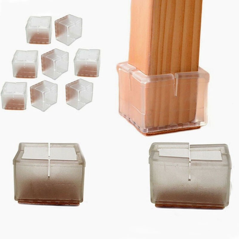 4pcs/sets Silicone Furniture Table Feet Cover Chair Leg Caps Pads Socks Floor Protectors Square Bottom Non-Slip Anti-noise Cups