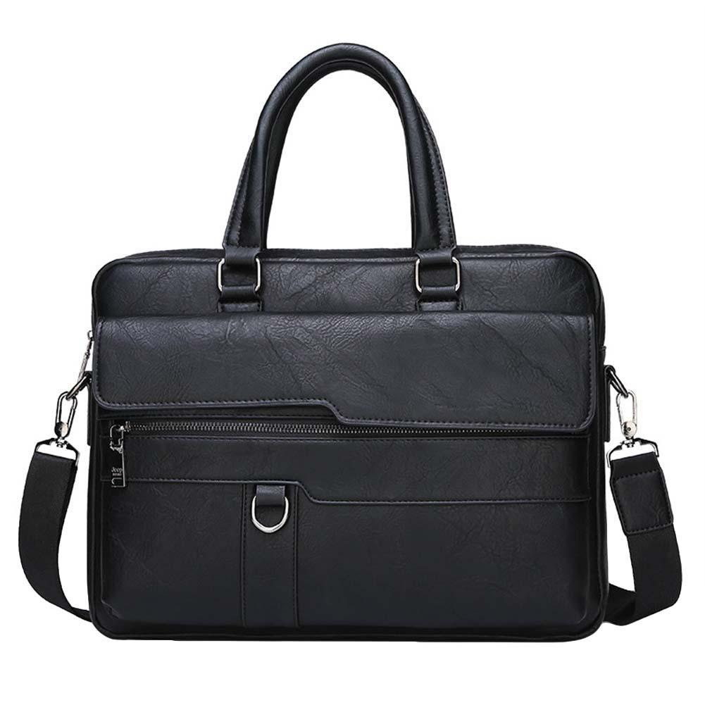 Retro Men Solid Color Bag Faux Leather Briefcase Large Capacity Tote Shoulder Bag Large Casual Business Laptop Briefcase