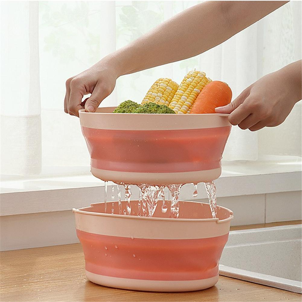 Collapsible Water  Drainer Double-layer Hollow Drain Basket For Kitchen Washing