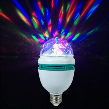 Kolorowe automatyczne obracająca się scena światło dyskotekowe E27 3W RGB ampułka lampa żarówka oświetlenie na imprezę Decoation do oświetlenia domu LED T0W8 tanie i dobre opinie THEBSE CN (pochodzenie) Mini LED RGB Stage Lighting 90-240 V Domowa rozrywka Lantern Light Christmas Dance Party Show Lase