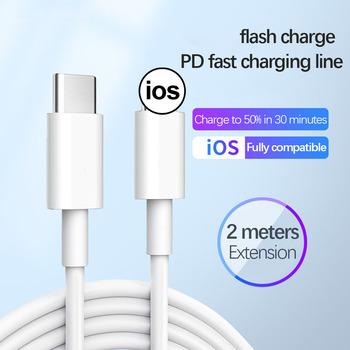 Typc-c kabel USB C ładowarka do iPhone 12 Mini 11 Pro Xs Max SE 8P ios 20W PD szybki przewód ładowania kable danych akcesoria do telefonów tanie i dobre opinie NoEnName_Null NONE LIGHTNING CN (pochodzenie) TYPE-C Stiger Charging Cable for iPhone White Data line phone accessroies