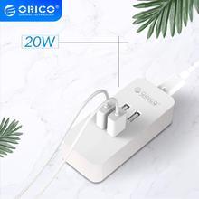شاحن USB صغير من ORICO مزود بـ 4 منافذ بقوة 20 واط محول شاحن مكتبي لأجهزة سامسونج وهواوي وشاومي