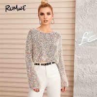 ROMWE Multi Boucle tricot culture pull décontracté col rond à manches longues chandail printemps automne 2019 femmes vêtements pull pull