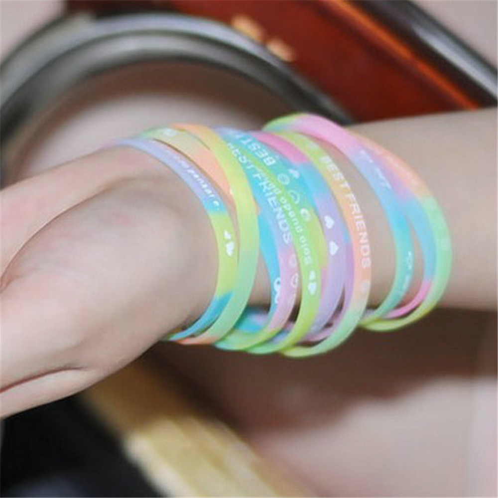 Bracelet Printing Sports for Friends Wristband Neutral-Cuff Give-Up Elastic Never Silicone-Rubber