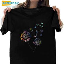 Женская хлопковая черная футболка с одуванчиком размера плюс