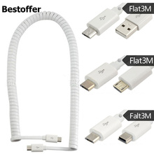 3 เมตร USB 2.0 Spring Coiled CABLE Micro 5Pin ชาย Micro 5pin/Mini USB/USB A ชายสายชาร์จข้อมูล