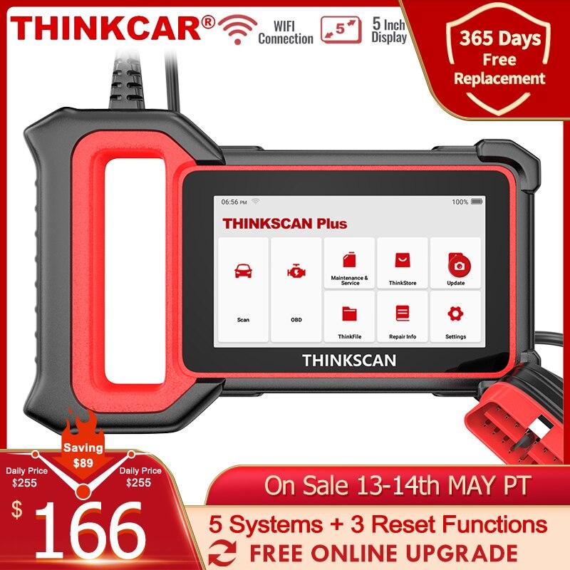 THINKCAR Thinkscan plus S4 OBD2 Автомобильный сканер Professional ABS SRS SAS Oil 3 Сброс 5 Системный считыватель кода OBD 2 Инструмент для автомобильного диагностическ...