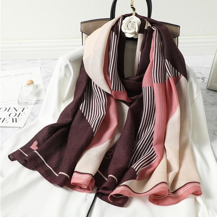 2021 New design brand women scarf fashion print cotton spring winter warm scarves hijabs lady pashmina foulard bandana plaid