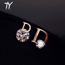 European and American personality shiny D letter asymmetric Earrings sexy party queen Earrings fashion trendsetter lady Earrings