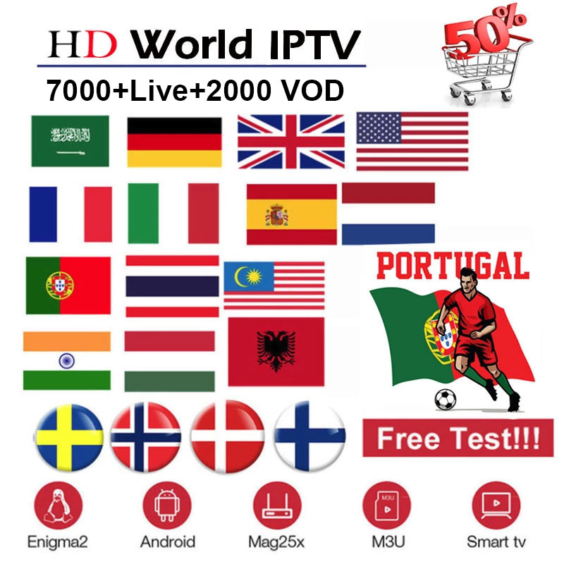 World IPTV Subscription 7000+ Live 2000+ VOD With Spain France Italy UK Arabic Dutch Portugal Smart Android TV Box For M3U Iptv