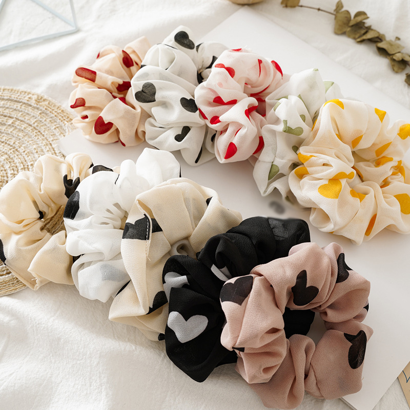 Hot Love Heart Print Chiffon Elastic Scrunchie Hair Ties Ponytail Holder Hair Rope Hair Accessories Girls