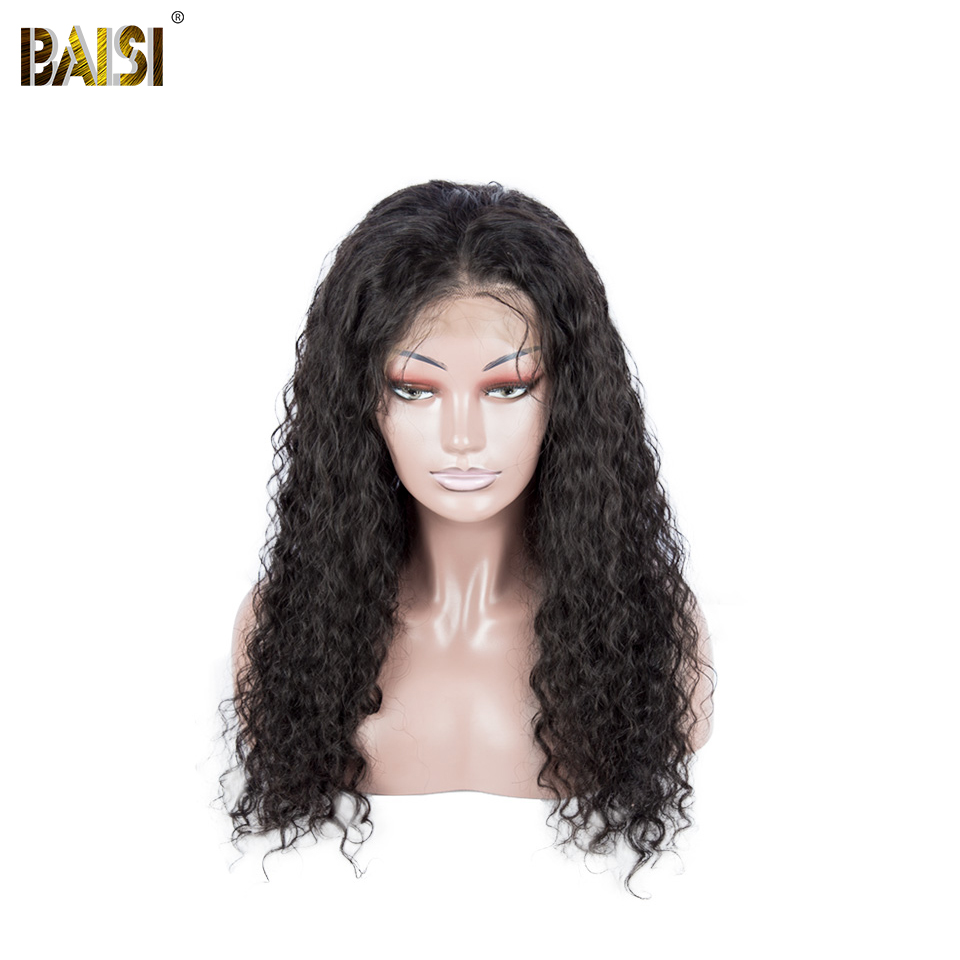 BAISI Hair Brazilian Hair Lace Front Wigs Water Wave Wigs with Pre-Plucked Nature Hairline 100% Human Hair