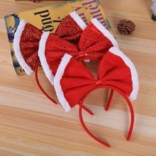1 шт., красный бант, рождественский подарок, повязка на голову, Новогодняя декоративная, рождественские товары, украшения для дома, обруч на голову, аксессуары для волос, navidad F924