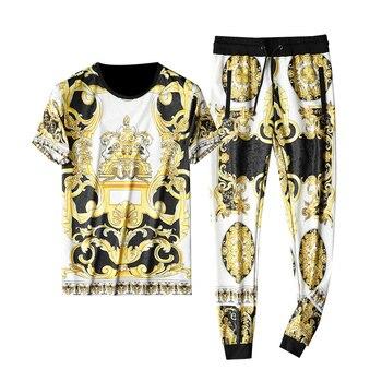 Fashion Luxury Gold Men Tracksuit Brand Plus Size 5xl Designer Italian Men 2 Piece Set  Summer Cozy Slim Fit Set Hombre 2020