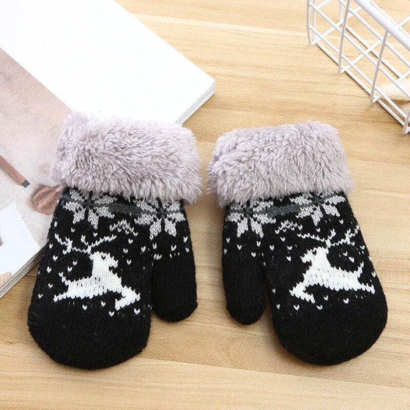 Детские зимние толстые теплые перчатки для мальчиков и девочек с милым рисунком из мультфильма, вязаные пальчики, шерстяные теплые варежки, перчатки - Цвет: GLV0446BK