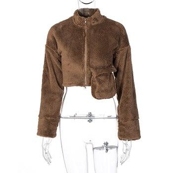 Dulzura lambswool teddy faux fur coat outwear wide leg pants pocket loose oversized streetwear autumn winter matching 8