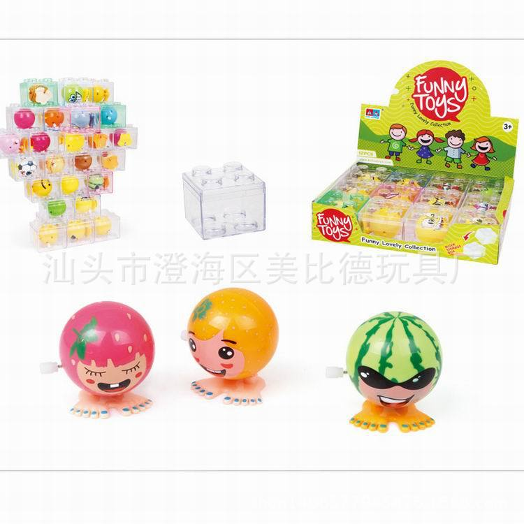 Children'S Educational Toy Winding Fruit Expression Square Transparent Box Winding Toy Cartoon Plastic Toy