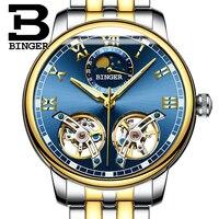 Double tourbillon Luxury Men watch Automatic mechanical Watch BINGER Famous Brand Watch Relogio Masculino 2019 Skeleton Watch