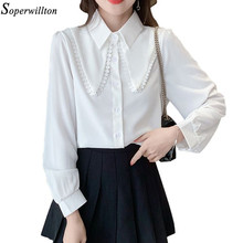 Casual womens tops e blusas sólido branco chiffon camisas soltas turn-down colarinho blusa elegante vintage all-match estilo coreano