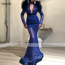 Świecący cekin dubaj kobiety suknie balowe 2021 syrenka na szyję długie rękawy pióra Royal Blue Grils formalne suknie wieczorowe tanie tanio YGMJZB Wysokiej CN (pochodzenie) Pełna NONE Długość podłogi Prom dresses REGULAR Cekiny Cekinami Illusion Naturalne