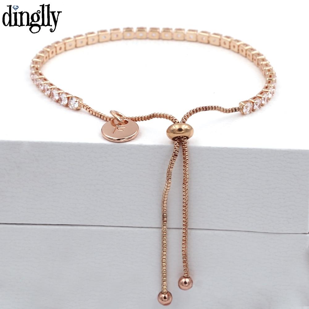 Letter Charm Crystal Bracelets For Women Men Lover Initials Couple Crystal Bangle Original Boy Girls Child Bracelet Jewelry Gift(China)