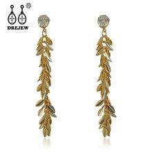 DREJEW Long Tassel Gold Leaf Zircon Alloy Statement Dangle Earrings 2019 Korean Fashion 925 Drop Earrings for Women HE1361