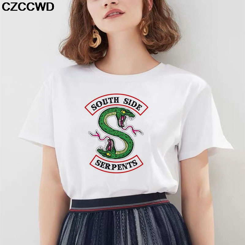 Riverdale Women Clothes 2019 Vintage T Shirt Snake Print T Shirt Women New Vogue Harajuku Casual Aesthetics Tops Female T-shirt