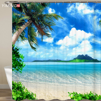 3D Seaside Scenery Beach Shower Curtain Home Decor Curtain Moldproof Waterproof Belt Hook Shower curtain Douchegordijn red beach shower curtain in bathroom waterproof bath curtains 3d coconut palm seascape douchegordijn landschap nordic