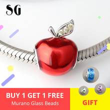 Christmas Gifts Fit Authentic pandora Bracelet & Necklace Silver 925 Original Red Apple Zircon Beads For Women Fashion Jewelry christmas trees red apple crystal cz 925 bracelet