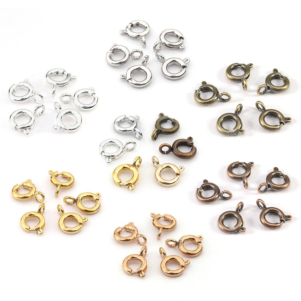 6mm7mm Vintage Metal okrągły sprężyna pierścionek zapięcie zaczep klamrowy okrągły wiosna klamra DIY bransoletka naszyjnik złącza biżuteria ustaleń