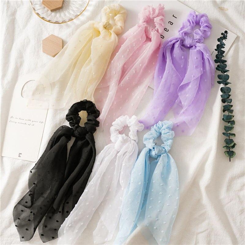 Seersucker Big Streamers Scrunchies Elastic Hair Bands Women Hair Ties Elastic Ponytail Holder Hair Ring Girls Hair Accessories