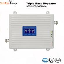 קול + 2G 3G 4G נתונים Tri Band אות מהדר GSM 900 DCS 1800 FDD LTE 2600 אות סלולארי נייד מגבר עם LCD