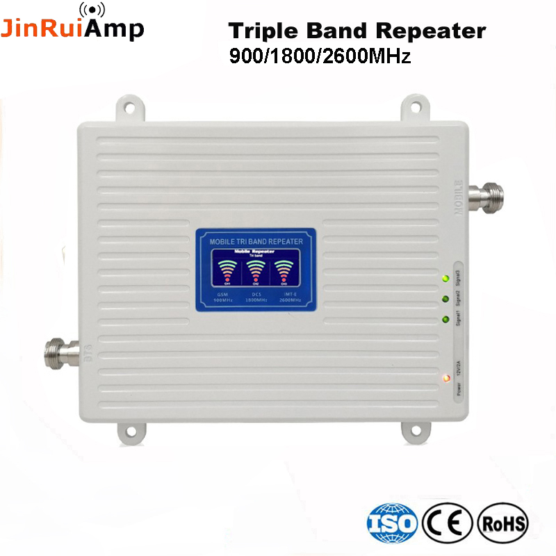 Voice+2G 3G 4G Data Tri Band Signal Repeater GSM 900 DCS 1800 FDD LTE 2600 Cellular Signal Booster Mobile Amplifier With LCD