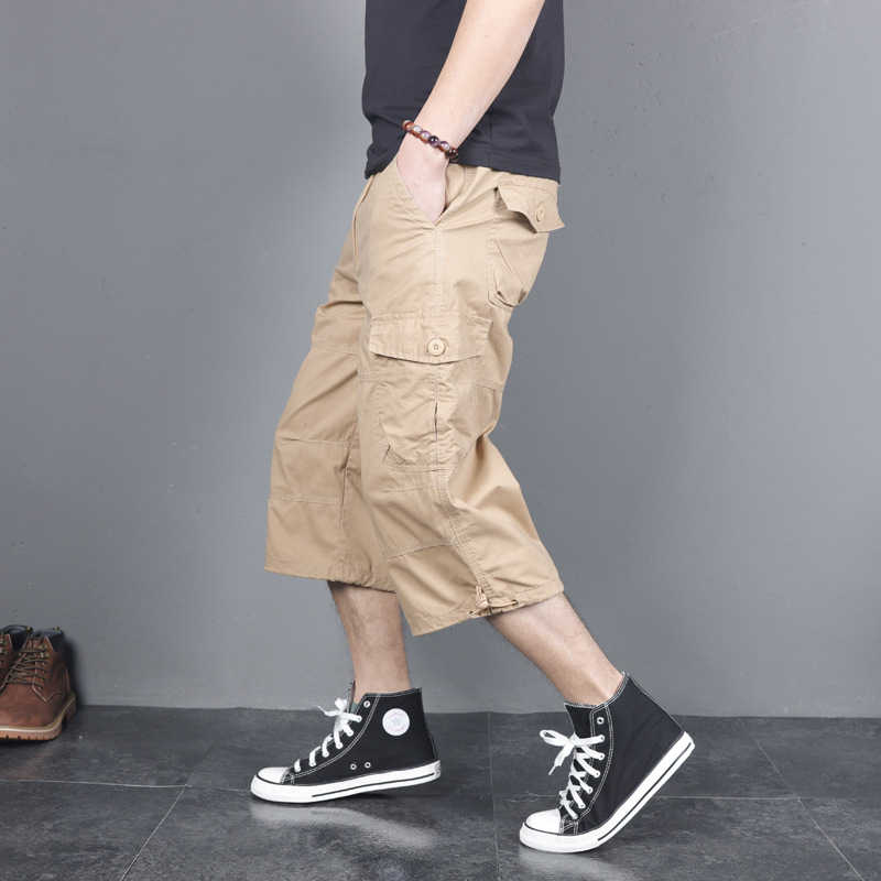 Degli uomini di Lunghezza Lungo Cargo Shorts di Estate Multi-Tasca Casual Cotone Elastico Capri Pantaloni Militari di Sesso Maschile Tattico Breve Hot calzoni