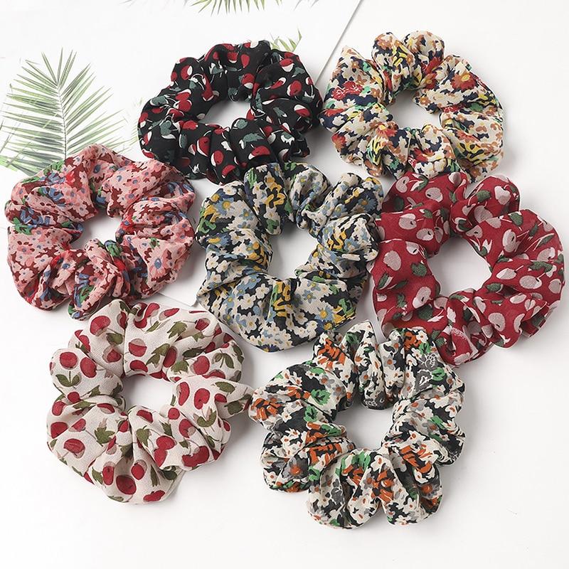 Women's Floral Chiffon Scrunchies Cherry Hair Ties For Girls Cute Sweet Elastic Hair Bands Ponytail Hair Accessories   Headwear