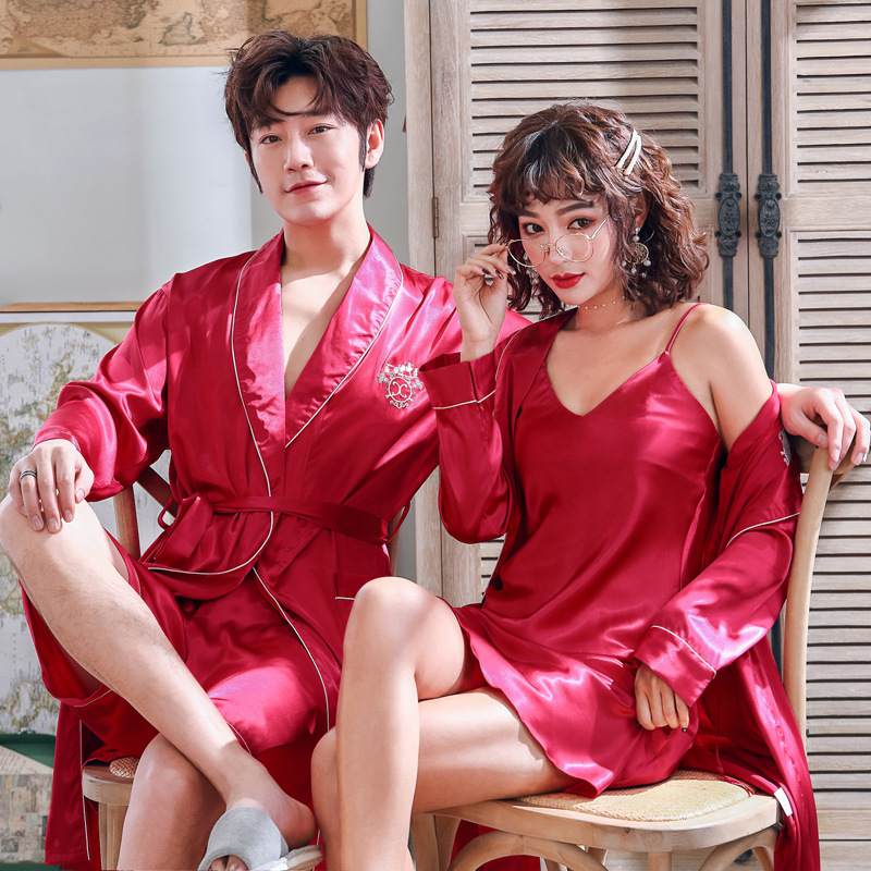 Red Lovers 2PCS Shirt&pants Men Pajamas Set Pijamas Suit Sleepwear Nightwear Casual Soft Satin  Elegant Nightgown Home Wear