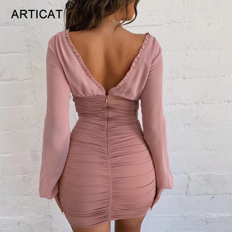 Articat Chiffon Summer Autumn Dress Women 2020 Sexy Long Sleeve Slim Elastic Bodycon Bandage Dress Short Pleated Party Dresses