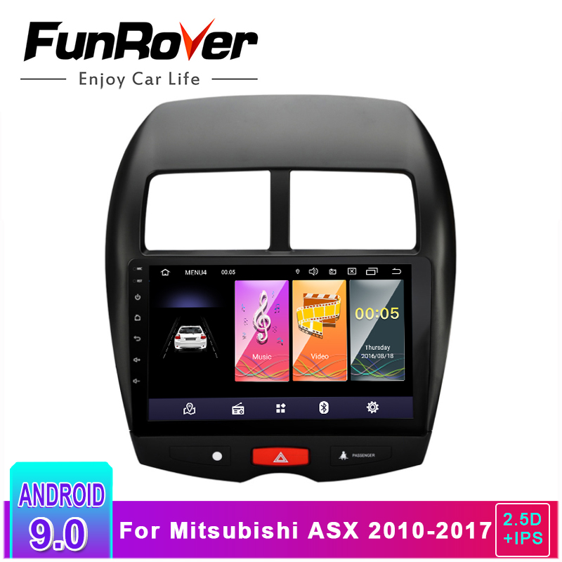 Funrover 2.5D + IPS Android 9.0 Multimedia Player 2 Rádio Do Carro din dvd GPS Para Mitsubishi ASX 2010-2017 unidade central de navegação Estéreo