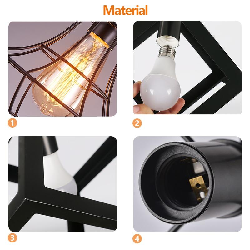 lowest price Black Vintage Industrial Pendant Light Nordic Retro Lights Iron Lampshade Loft Edison Lamp Metal Cage Dining Room Countryside