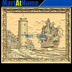 3D STL Model Lighthouse and Sailboat for CNC Router Engraving & 3D Printing Relief Support ZBrush Artcam Aspire Cut3d