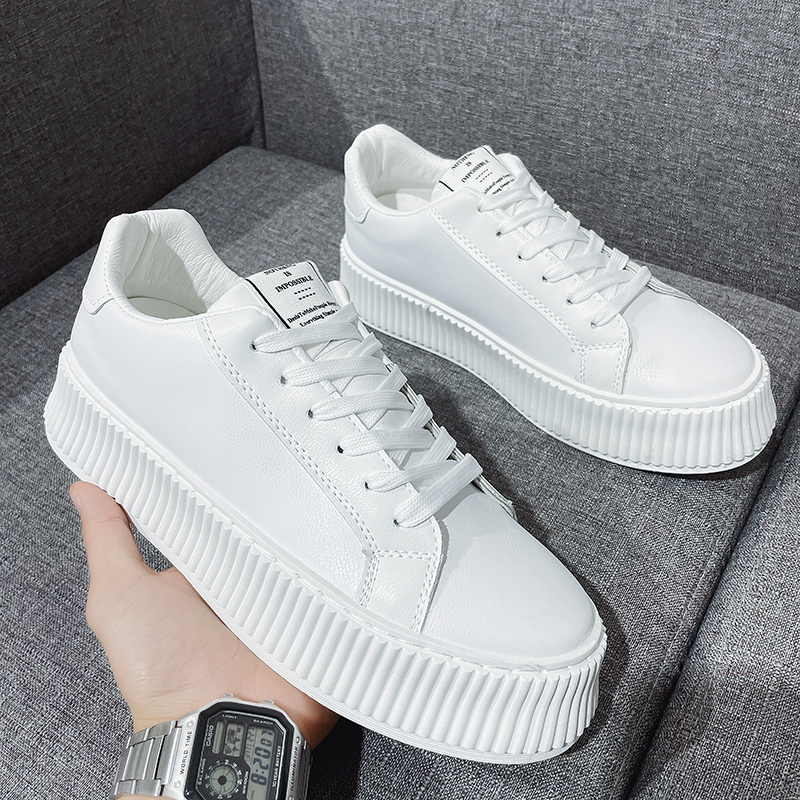 Men Shoes Casual PU Leather Shoes For Men Spring Summer Classic White Fashion Flat Sneakers Male Tide Non-slip Trainer Footwear