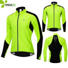 WOSAWE Male Winter Thermal Fleece Cycling Jackets Men High Visibility Cycle Windbreaker Warm Up Standing Collar MTB Bike