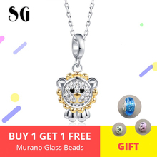 New Arrival Authentic 100% 925 Sterling Silver Cute Animal Lion King Pendant Necklaces For Women Fashion Jewelry